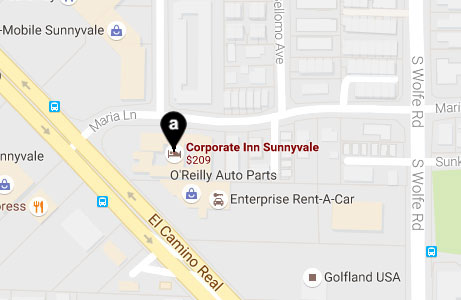 Corporate Inn Sunnyvale Location Map